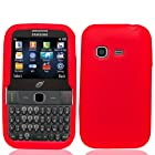 Combo Accessory for Samsung S390G Straight Talk Net 10 TracFone - Red Silicone Rubber Skin Protective Soft Case Cover + SportDroid Transparent Decal