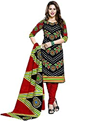 Snapyshopy Designer Full Sleeves Black Printed Cambric Cotton Straigth Suit
