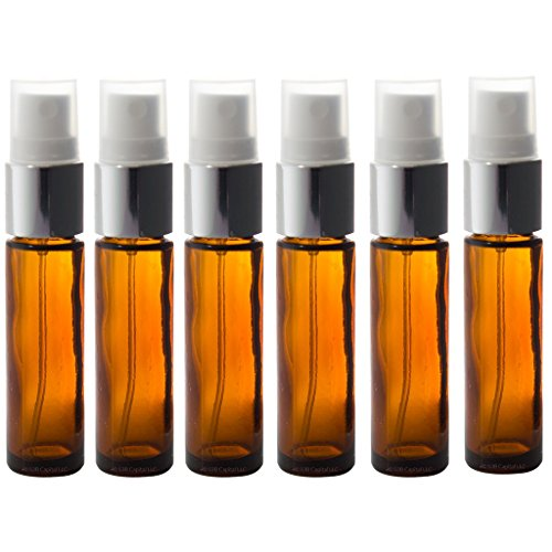 Aromatherapy Glass  Spray Bottles, 10ml (1/3oz) Amber Glass - Set of 6 for perfume, essential oils, travel (Dark Amber Spray compare prices)