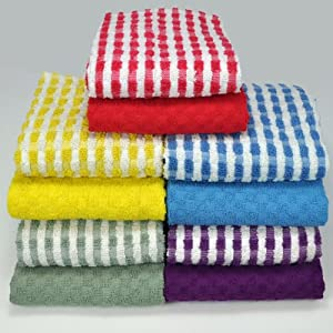 Kitchen-Restaurant-Hotel Terry Towels - Set of 8, mix of solid and checkered pattern, terry waffle weave 100% Cotton (26 inch x 16 inch), by Weavely