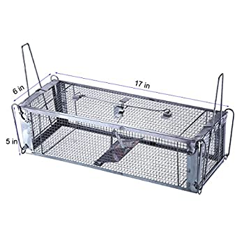 Trapro Two-Door Humane Live Animal Cage Trap for Eliminating Rats, Mice, Chipmunks, Squirrels and Other Similar-Size Rodents