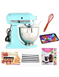 KitchenAid Artisan Series 5-Quart Tilt-Head Stand Mixer in Aqua Sky + Kamenstein Mini Measuring Spoons Spice Set + Accessory Kit by aSavings