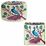 Ottoman Foot Stool Pouf Round or Square from DiaNoche Designs by Sascalia Home Decor and Bedroom Ideas - Blue Peacock