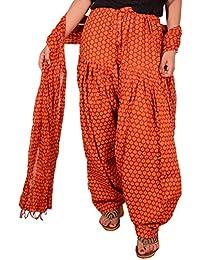 Fashion Store Printed Solid Cotton Orange Patiala Salwar Dupatta Set(Free Size,Multi Color)