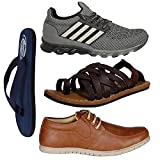 #7: Butchi Men's Combo Pack Of 4 Stylish Sports Shoes, Casual Shoes, Slipper & Sandals