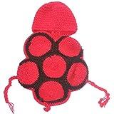 Foxnovo Süß Schildkröte Stil Baby Kleinkind Neugeborenen Handmade gehäkelt Beanie Hut Kleidung Baby Fotografie Requisiten (rot))