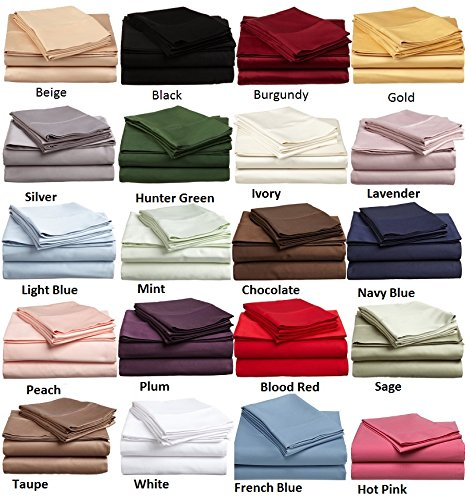 500-Thread-Count Egyptian Cotton Super Soft Extra Deep Pocket Fitted Sheet/Bottom Sheet King/Eastern King Solid Elephant Gray Fit Up to 21