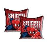 "Disney Marvel Spider Man 2 Piece Satin Polyester Cushion Cover Set - 16""x16"", Red"