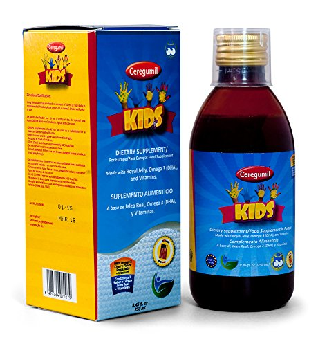 Ceregumil Kids Vitamins Algae Omega 3 EPA DHA Liquid Vitamins and Minerals w/ TERRIFIC Cherry Taste + Vitamin C, D3, B6, B12 (Methylcobalamin) for Physical and Mental Development, UNIQUE w/ High Grade Royal Jelly to Help Fight Stress and Fatigue to Help Maintain Normal Growth and Development, Immune System Booster and Nervous System - 250mL - (Pekes) (Omega 3 Vitamin For Kids compare prices)