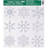 Unique Silver Glitter Snowflakes Window Decals