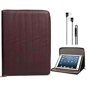 DMG Protective Carry Bag Portfolio Case with Accessory Pockets for Notion Ink Adam II Tablet (Brown) + Black Stereo Earphone with Mic and Volume Control
