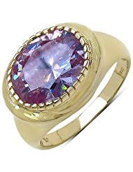 Suraabi 6.30CTW Purple Cubic Zirconia 14K Yellow Gold Plated Brass Ring For Women Size 6