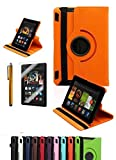 """Amazon Kindle Fire HDX 7"""", CINEYO(TM) 360 Degree Rotating Stand Case Cover with Auto Sleep / Wake Feature for Amazon Kindle Fire HDX (10 Colors)(will only fit Kindle Fire HDX 7"""" 2013) (Orange)"""