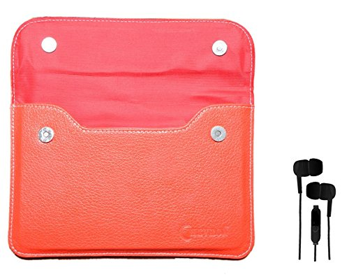 Chevron Leather Pouch Cover Case For Vox 7Inch Dual Sim Calling Slim Tablet With 3.5mm Stereo Earphones (Samsung Compatible) - Red