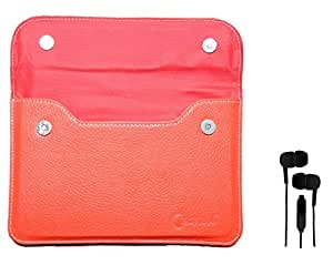 Chevron Leather Pouch Cover Case For iBall Slide 3G 7334 Tablet With 3.5mm Stereo Earphones (Samsung Compatible) - Red