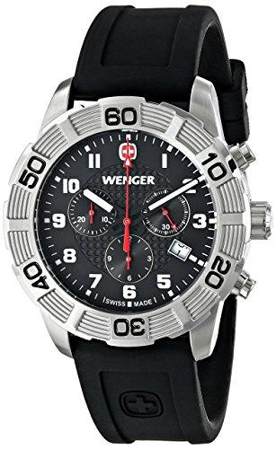 Wenger 010853101 Montre bracelet Homme, Silicone, couleur: noir