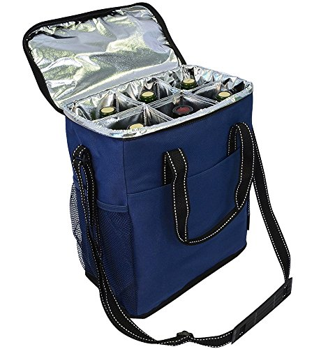 Vina 6 Bottle Wine Carrier - Travel Insulated Wine Carrying Case Tote Bag for Champagne Picnic Cooler Blue (Portable Champagne Cooler compare prices)