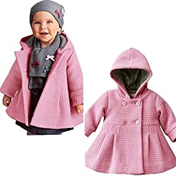 SPUNKYKIDS Baby Girl\'s Hooded Wool Cotton Trench Coat 12MO Pink