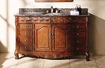 "Hot Sale 60"" Classic Cherry Single Sink Bathroom Vanity w/Baltic Brown Granite"