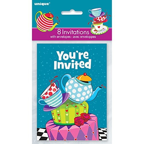 Chapelier Fou Tea Party Invitations, Lot de 8