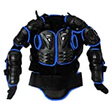 Ediors Motorcycle MX Riding Full Body Armor Back Protector Gear Pro Street Motocross ATV Jacket Shirt Black/Blue Small