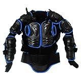 Ediors Motorcycle MX Riding Full Body Armor Back Protector Gear Pro Street Motocross ATV Jacket Shirt Black/Blue Small