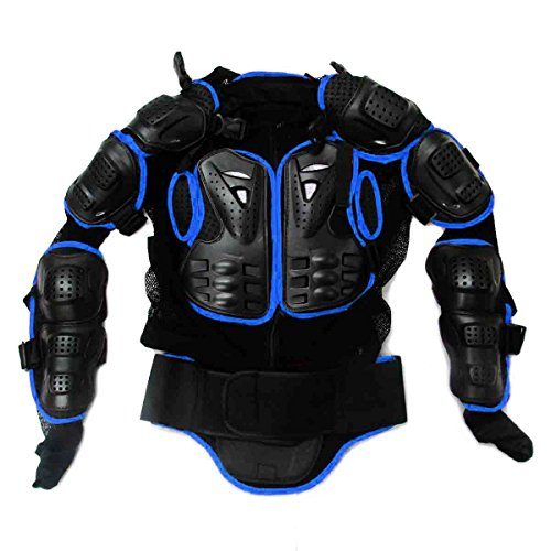 Ediors Motorcycle MX Riding Full Body Armor Back Protector Gear Pro Street Motocross ATV Jacket Shirt Black/Blue Large
