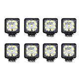 Masione 27w Led Work Light Lamp Off Road Trailer Driving Light Tractor (8 Pack, 27W Square, Flood Beam)