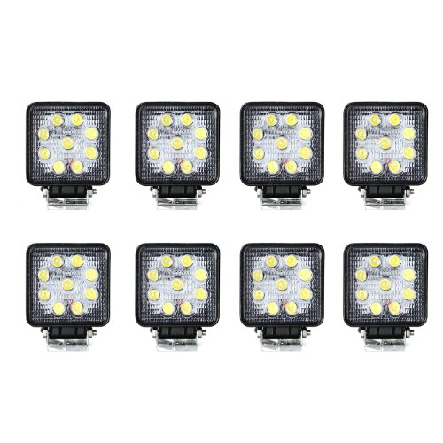 Masione 27W Led Work Light Lamp Off Road Trailer Driving Light Tractor Lighting Waterproof (8 Pack, 27W Square, Flood Beam)