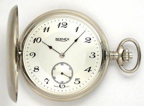 Женские карманные часы Bernex Swiss Made Large Rhodium Plated Satin Pocket Watch with 17 Jewel Movement