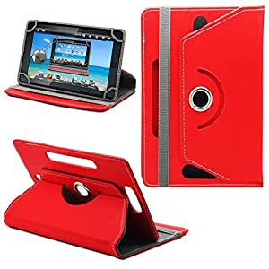 """Generic 360° Rotating 7"""" Inch Tablet Leather Flip Case Cover Book Cover With Stand For Allview AX4 Nano -Red"""