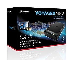 Unidad de almacenamiento móvil Corsair Voyager Air 2 CMFAIR-VA2-1000-NA, inalámbrica, 1TB, iOS y Android color negro