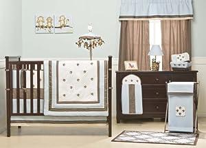 Kids Line Monkey Play 4 Piece Crib Set, Blue/Brown