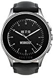 Vector Watch Luna Smartwatch-30 Day+ Autonomy, 5ATM, Notifications, Activity Tracking - Steel Case/ Black Leather-Casual