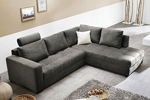 Polsterecke Aurum Mikrofaser grau 267x221cm Bettfunktion Sofa Couch Wohnlandschaft günstig