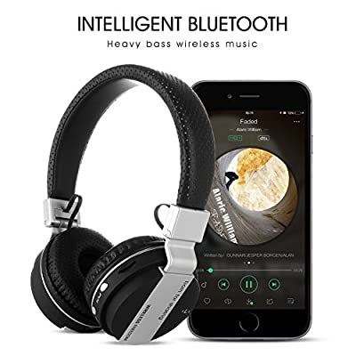 GSPON Foldable bluetooth over ear headphones,Stereo wireless headset,Built-in Mic for Smartphones,Tablets,PC