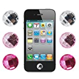Skque Bling Diamond Crystal Style Home Button Sticker for Apple iPod iPhone iPad, 6 Pieces, Assorted Color