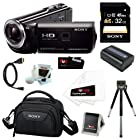 Sony HDR-PJ380/B High Definition Handycam Camcorder with 3.0-Inch LCD (Black) Bundle with 32GB Memory Card and Replacement Battery + Accessory Kit