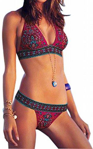 Imilan Boho Paisley Bikini Set Sexy Women Beachwear Swimsuit (L, Red) image