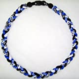 Tornado Titanium Baseball Necklace Royal Black White 18""