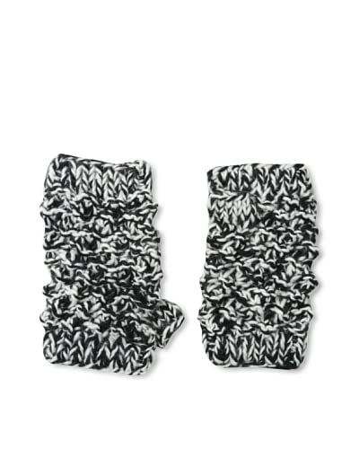 Buji Baja Women's Popcorn Fingerless Gloves, Black/Ivory Tweed