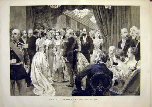 Pairs Elysees Rejchan Reception French Print 1891