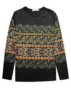 Men Long Sleeves Novelty Geometric Prints Pullover T-Shirts