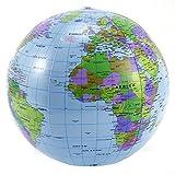 CLE DE TOUS - Globos terráqueo Hinchable 40cm Bola Mundo Hinchable para escolar Juguetes niños aprender geografía (10 uds)