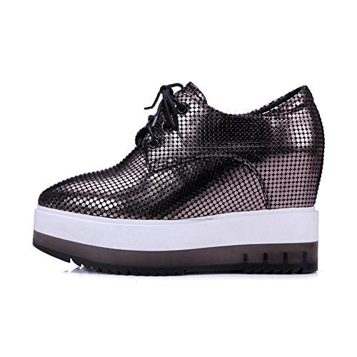 Autunno scarpe/Con testa tonda tacco alto zeppe/Scarpa di bocca profonda-A Lunghezza piede=22.8CM(9Inch)