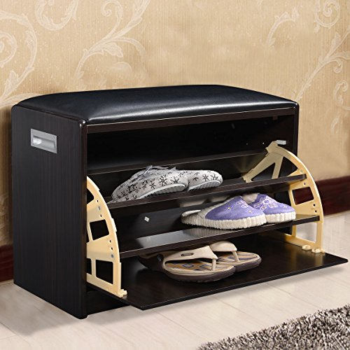 Wood Shoe Storage Bench Ottoman Cabinet Closet Shelf Entryway Multipurpose New (Rv Nightstand compare prices)