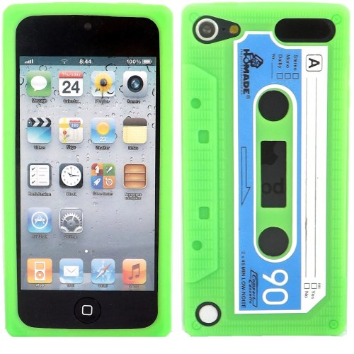 Cassette Silicone Case Cover Skin For Apple Ipod 5 / Green