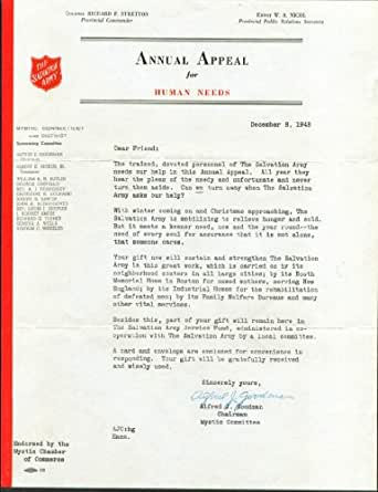 salvation army appeal human needs letter mystic ct 1948 entertainment collectibles. Black Bedroom Furniture Sets. Home Design Ideas