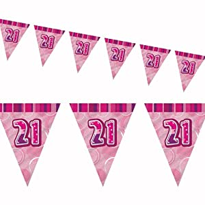 12ft Pink Sparkle Happy 21st Birthday Pennant Flag Banner Party Decoration . from Unique
