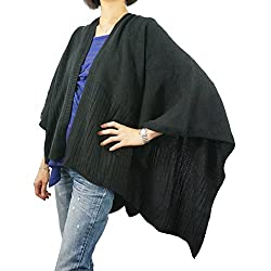 Women Open Front Poncho with Pockets Knitted Shawl Lady Knitted Cape Jacket Solid Color Fashion Warm Winter Wrap Over Large Knit Shawl Warmer - Black